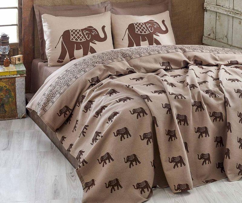 Cuvertura Pique Elephant Brown 160x235 cm