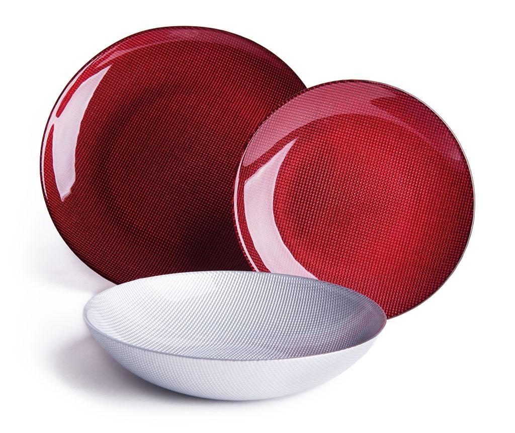 18-dijelni servis za jelo Diamond Red Silver