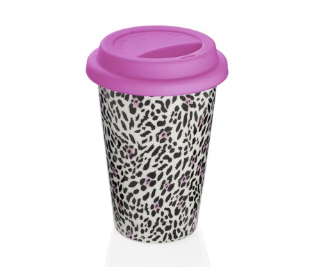Cana de calatorie Leopard Pink 300 ml