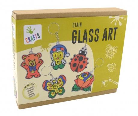Zestaw kreatywny 17 elementów Stain Glass Art