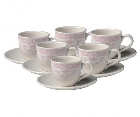 Сервиз 6 чашки и 6 чинийки Roccoco Morning Pink