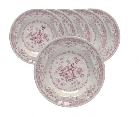 Set 6 dubokih tanjura Rosen Garden Pink