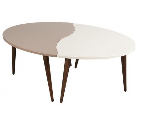 Oval White Brown 2 db Asztalka