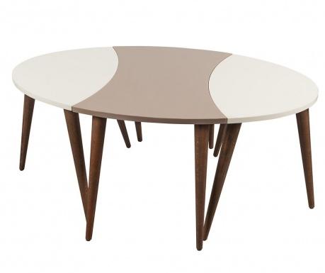 Oval Cream White 3 db Asztalka