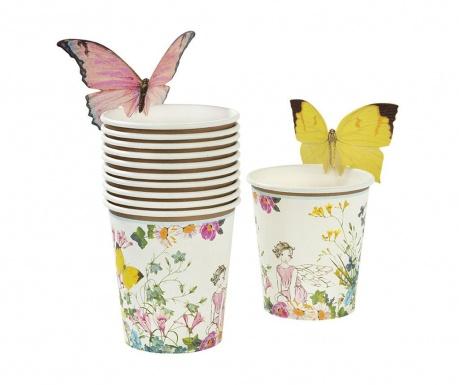 Комплект 12 чаши за еднократна употреба и 12 аксесоара Fairy Butterfly