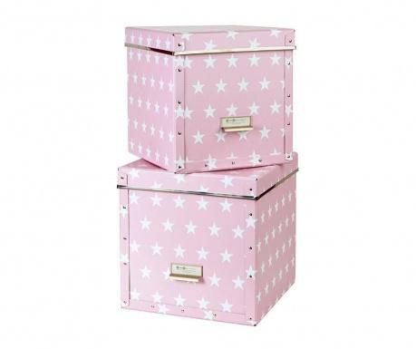 Set 2 kutije za pohranu s poklopcem Assar Pink