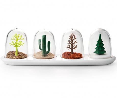 Set 4 recipiente pentru condimente si suport Four Seasons