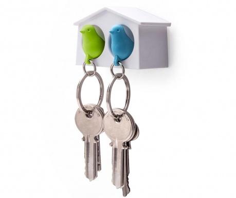 Set 2 brelocuri si suport pentru chei Mini Sparrow Green Blue