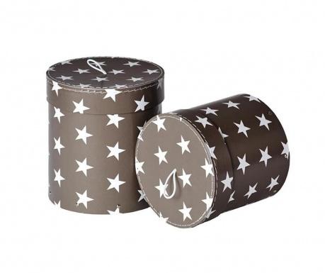 Set 2 cutii cu capac pentru depozitare Hanna Dark Grey