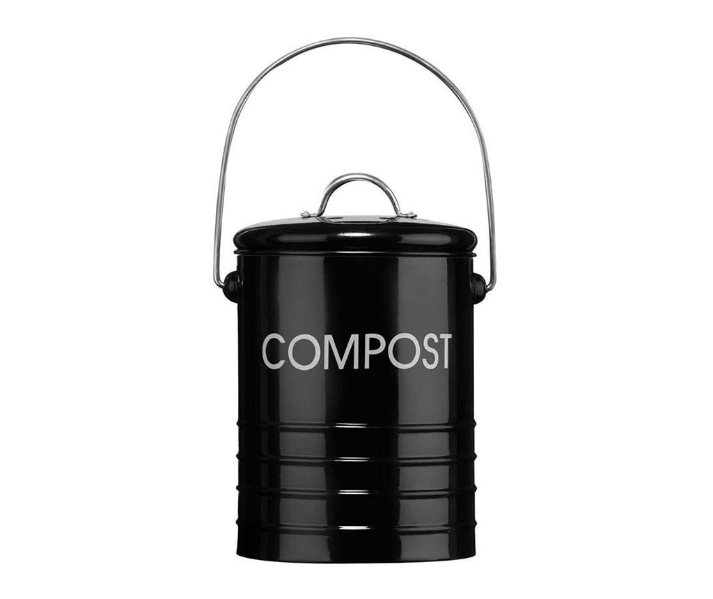 Recipient cu capac pentru compost Duane Ridges Black 2.5 L