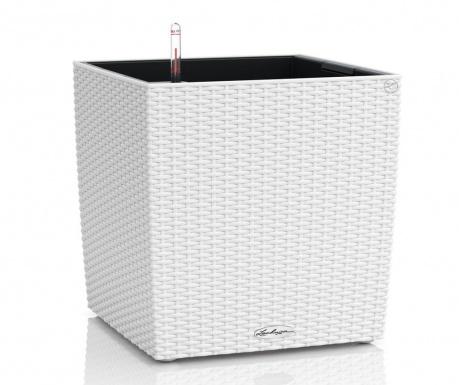 Set - cvetlični lonec z avto-namakalnim sistemom in držalo Cube White