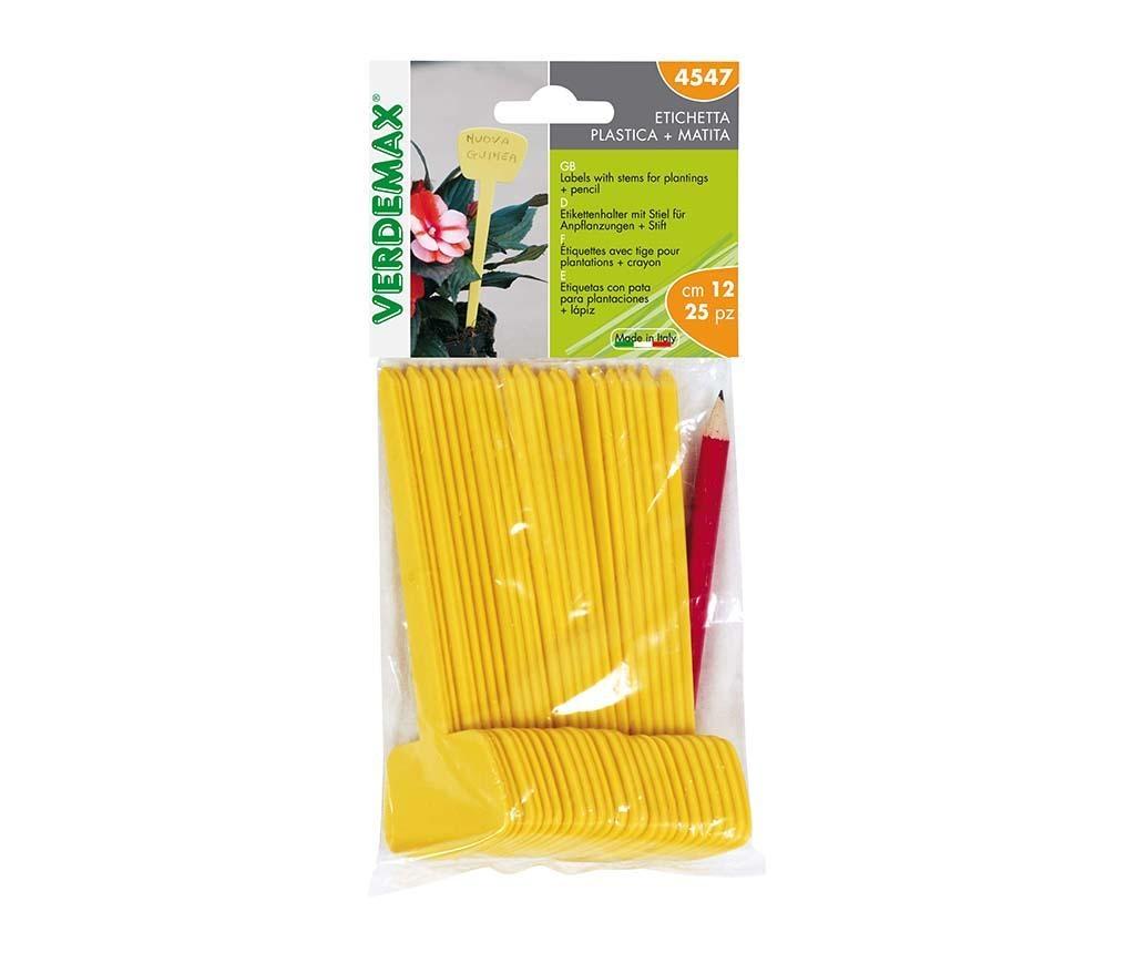 Set 25 etichete plante si creion Yellow