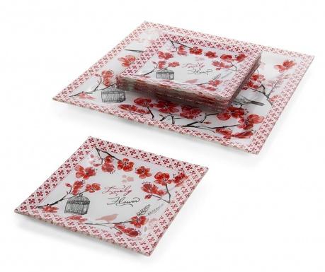 Tamiko Red 6 db Desszertes tányér és szervírozó tál