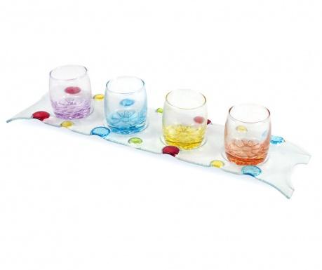 Set 4 čaše  i držač Rainbow Drops