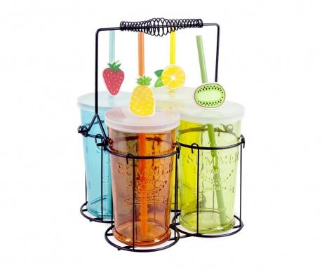 Комплект 4 чаши с капачка, сламка и поставка Fruits