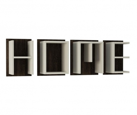 Set 4 zidne police Home White Dark Wenge