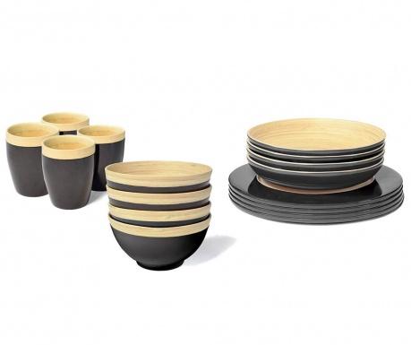 set de masa 16 piese bamboo life black vivre. Black Bedroom Furniture Sets. Home Design Ideas