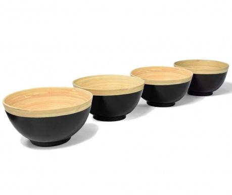 Set 4 zdjele Bamboo Life Black 400 ml