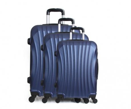 Moscou Blue 3 db Gurulós  bőrönd