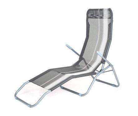 Sklopiva ležaljka za vanjski prostor White Stripes Grey