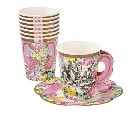 Комплект 12 чашки и 12 чинийки за еднократна употреба Alice