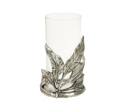 Candle holder Silver Leaves