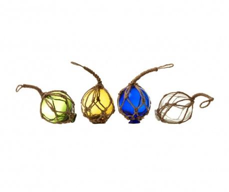 Sada 4 závesných dekorácií Balls Multicolor