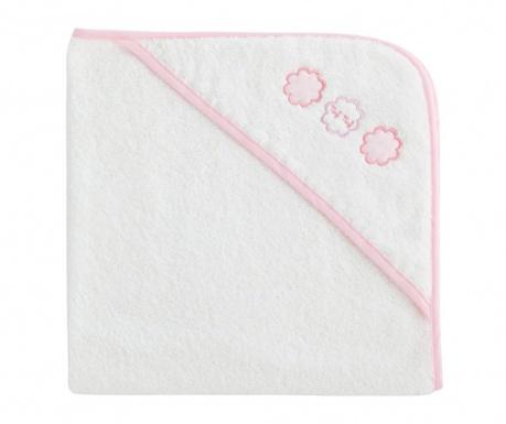 Zestaw ręcznik kąpielowy z kapturem i rękawica Tres Chic Pink