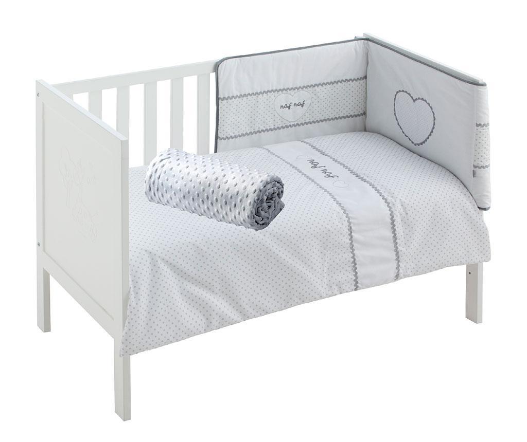 Set - otroška posteljica in dodatki Heart Grey