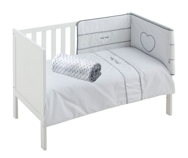 Set krevetić i dodaci Heart Grey