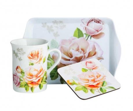 Trzyczęściowy zestaw do herbaty Peach Rose