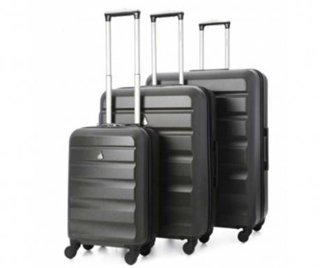 Zestaw 3 walizek na kółkach Adelaide Charcoal