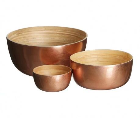 Set 3 dekorativnih skled Copper Mari