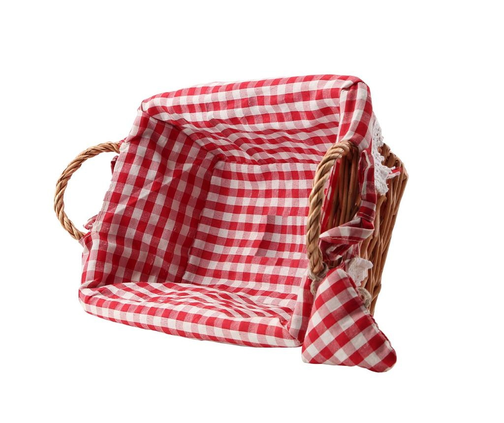 Gingham Rectangular Red Kenyérkosár S