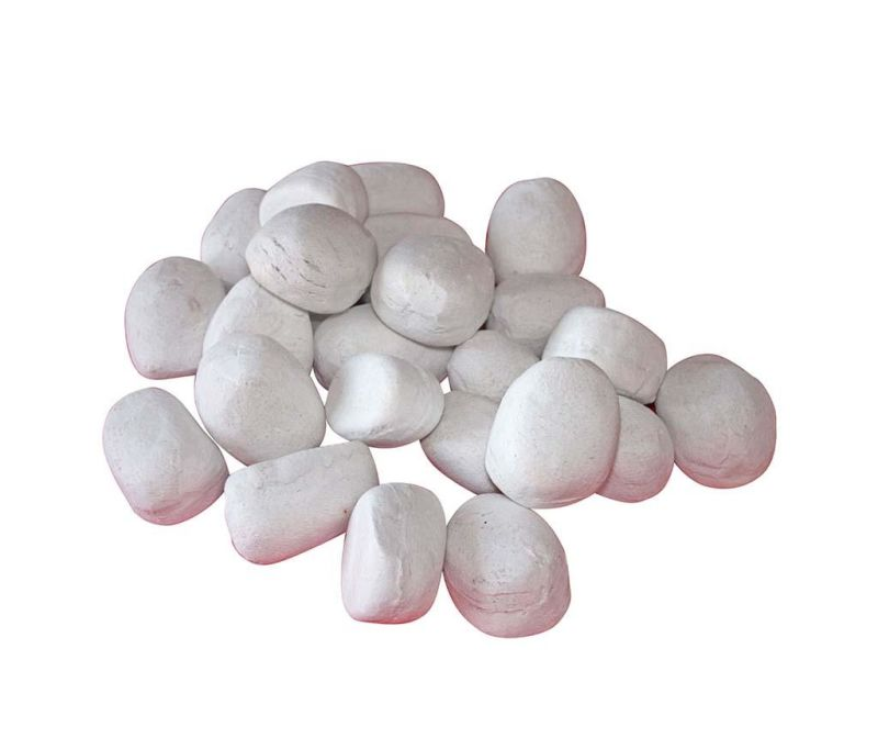 Set 24 ukrasa za kamin Pebbles White