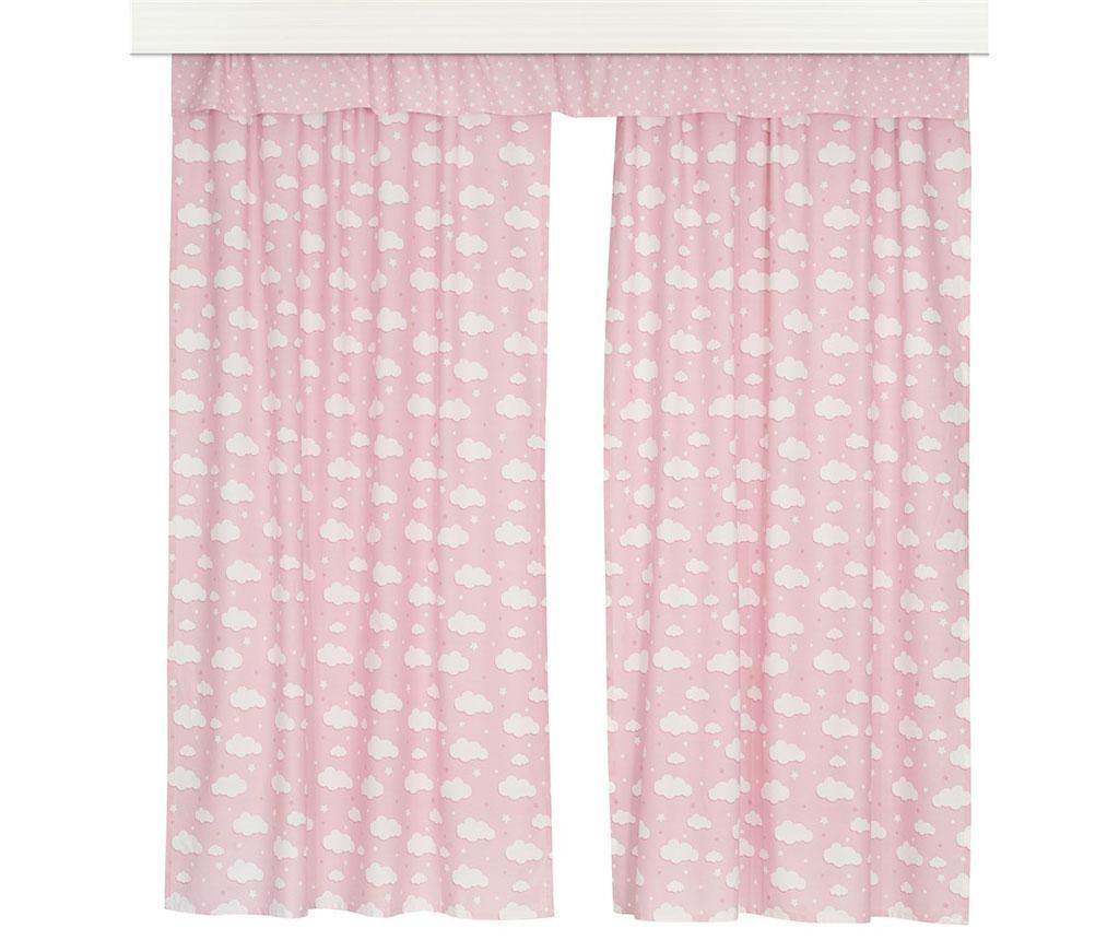 Set 2 draperii si 1 draperie transversala Clouds Pink