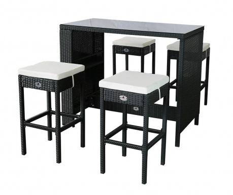 Set masa si 4 scaune de bar pentru exterior Garden Dark Grey