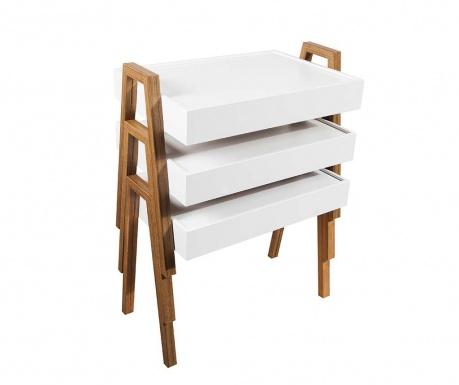 Комплект 3 модулни масички Nesting White and Brown