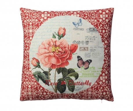 Perna decorativa Rose and Butterfly 45x45 cm