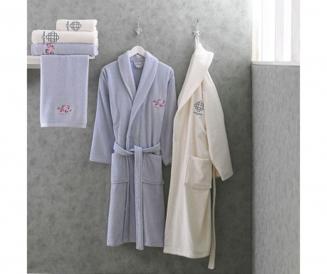 Set 2 halate si 4 prosoape de baie Azalee Blue and Cream