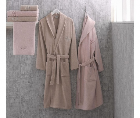 Set 2 halate si 4 prosoape de baie Marie Claire Pink and Beige