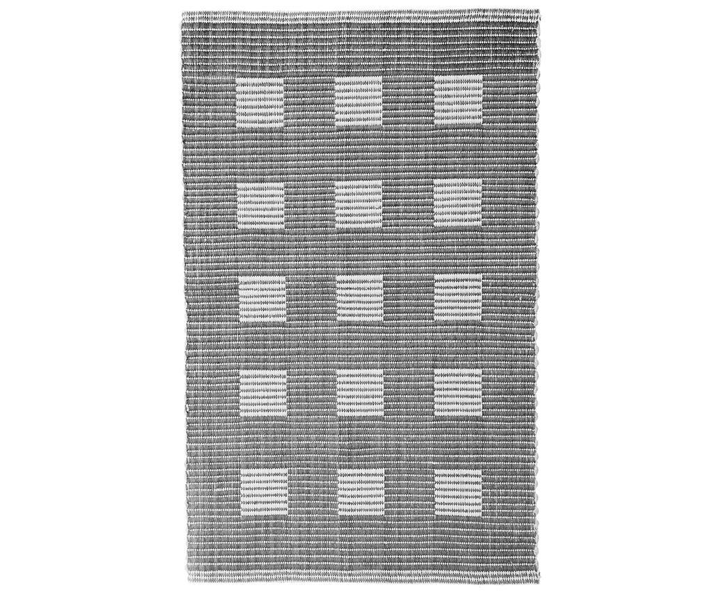 Covoras de baie Ribbed Squares Grey 50x80 cm