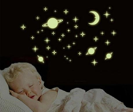Комплект 48 флуоресцентни стикера Lune et Etoile