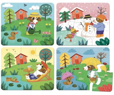 Sada 4 puzzle, 6 dílů Seasons