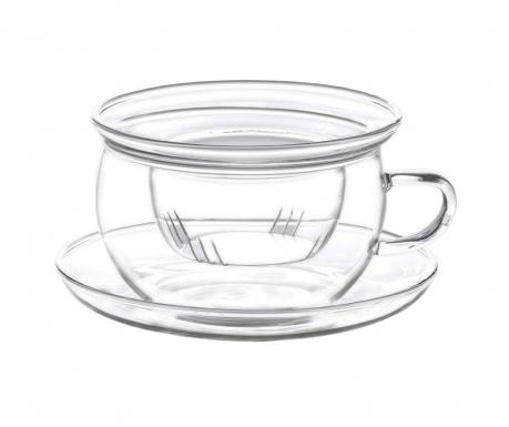 Комплект чаша с инфузер и чинийка Borosilicate