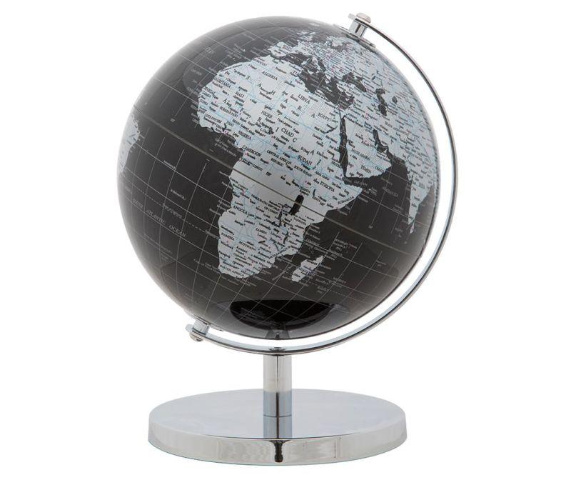 Dekorácia Globe Black Silver