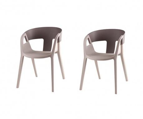 Set 2 scaune Willa Beige and Dark Grey