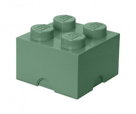 Kutija za pohranu s poklopcem Lego Square Four  Sand Green