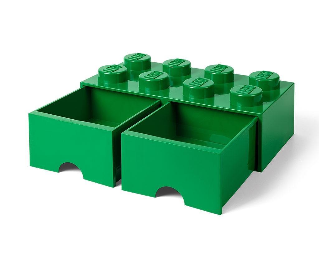 Lego Square Duo Dark Green Tárolódoboz