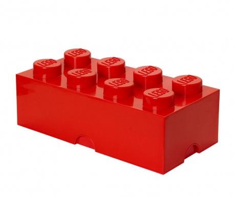 Kutija za pohranu s poklopcem Lego Rectangular Extra Red